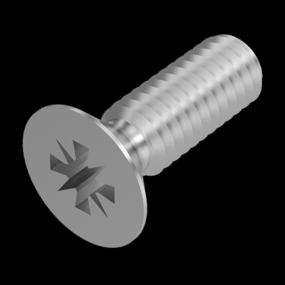 Senkkopfschraube M 2 x 3 oder M 2 x 6 mit Kreuzschlitz  DIN 965  A2 .